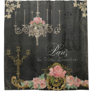Romantic Paris Parisian Rose Chandelier Chalkboard