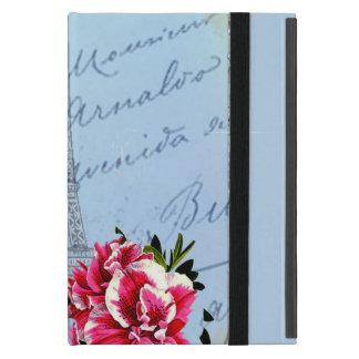 Romantic Paris Vintage Eiffel Tower & Rose iPad Mini Cases