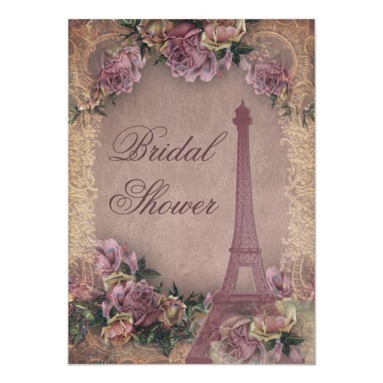 Romantic Paris Vintage Roses Lace Bridal Shower Card