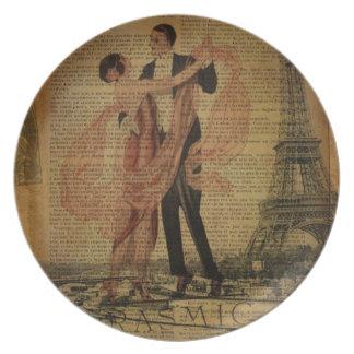 romantic Paris Wedding Waltz ballroom dancers Plate