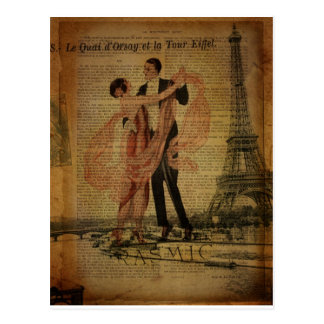 romantic Paris Wedding Waltz ballroom dancers Postcard