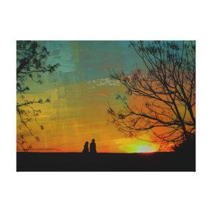 edc7546ec5d romantic peaceful sunset couple painting canvas print