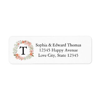 Romantic Peach Floral Monogram Wedding