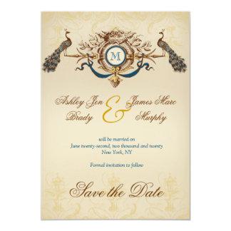 "Romantic Peacock Save the Date Announcement 5"" X 7"" Invitation Card"
