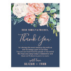 Romantic Peonies | Blue Thank You Reception Card