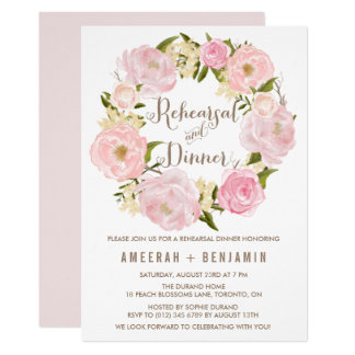 Romantic Peonies Wreath Rehearsal and Dinner Card