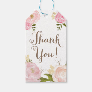 Romantic Peony Flower Thank You Gift Tags