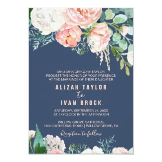 Romantic Peony Flowers | Blue Formal Wedding Invitation