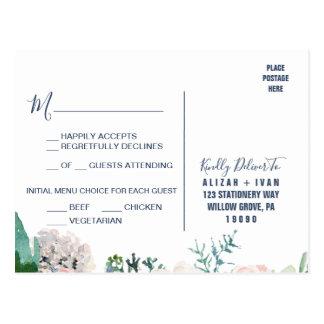 Romantic Peony Flowers | Blue Menu Choice RSVP Postcard