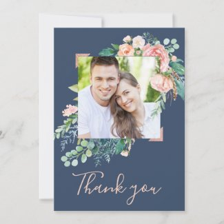 Romantic Peony Flowers | Blue Photo Thank You Card