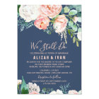 Romantic Peony Flowers | Blue Vow Renewal Card