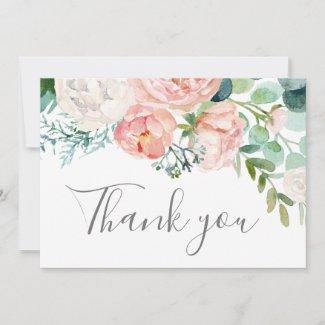 Romantic Peony Flowers Thank You Card