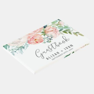 Romantic Peony Flowers Wedding Guest Book