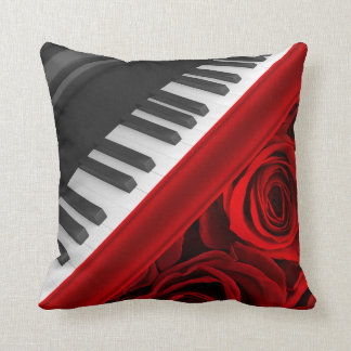 Romantic Piano and Roses Throw Pillow
