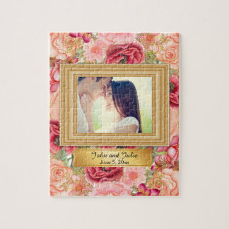 Romantic Pink and Red Roses Couple Photo Puzzle