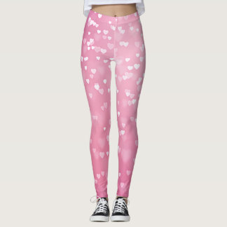Romantic Pink Bokeh Hearts Leggings