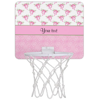 Romantic Pink Bows & Pretty Pink Damask Mini Basketball Hoop