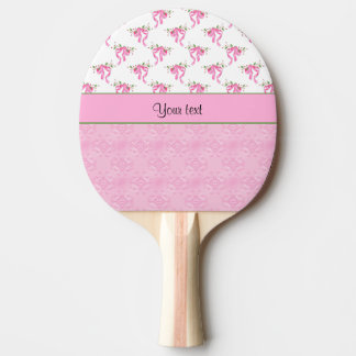 Romantic Pink Bows & Pretty Pink Damask Ping Pong Paddle