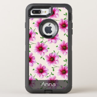 Romantic Pink Dahlia Flowers any Color any Text OtterBox Defender iPhone 7 Plus Case