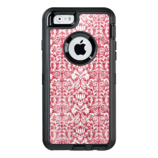 Romantic Pink Distressed Damask OtterBox Defender iPhone Case