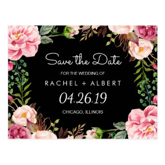 Romantic Pink Floral Classy Wedding Save the Date Postcard