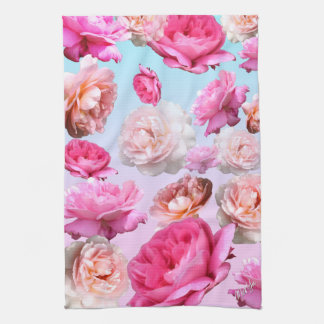 "Romantic Pink Floral Kitchen / Hand Towel 16""x24"""