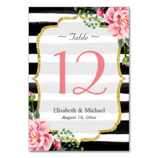 Romantic Pink Floral Striped Wedding Table Number