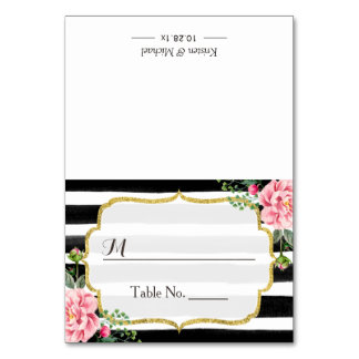 Romantic Pink Floral Stripes Wedding Seating Place Card