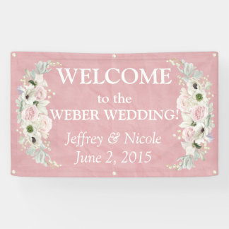 Romantic Pink Floral Wedding Banner