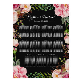 Romantic Pink Floral Wreath Wedding Seating Chart