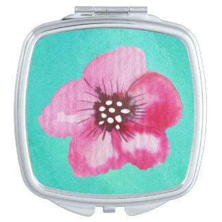 Romantic Pink Flower Aqua Blue Watercolor Makeup Mirror