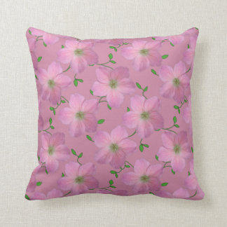 Romantic Pink Geranium Flower on any Colour Throw Pillow