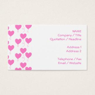 Romantic Pink Heart Balloons Pattern. Business Card