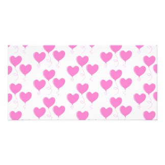 Romantic Pink Heart Balloons Pattern. Photo Card