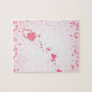 Romantic Pink Hearts and Flowers Jigsaw Puzzle