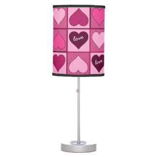 Romantic Pink Hearts Up and Down any Text Table Lamp