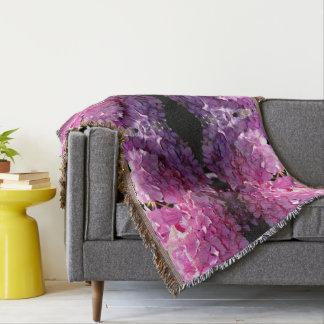 Romantic Pink Hydrangea Throw Blanket