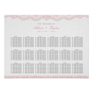 Romantic Pink Lace Wedding Seating Chart