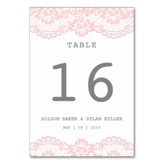 Romantic Pink Lace Wedding Table Card
