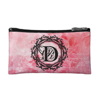 Romantic Pink Old Rose Chic Pattern Makeup Bag