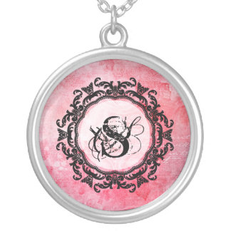 Romantic Pink Old Rose Chic Pattern Silver Plated Necklace