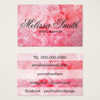 Romantic Pink Old Rose Rustic Bussines Card