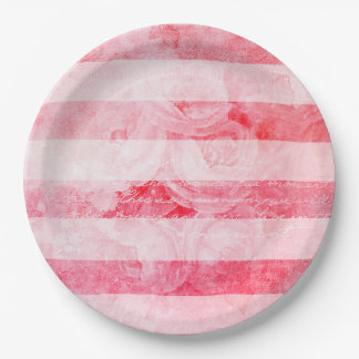 Romantic Pink Old Rose Rustic Paper Plate