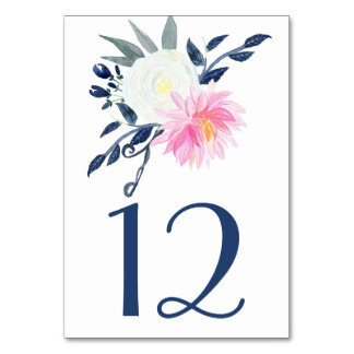 Romantic  Pink Peonies Navy Blue Table Cards