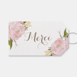 Romantic Pink Peonies Wreath Merci Thank You Pack Of Gift Tags