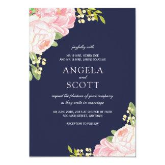 Romantic Pink Peony on Navy Wedding Invitations