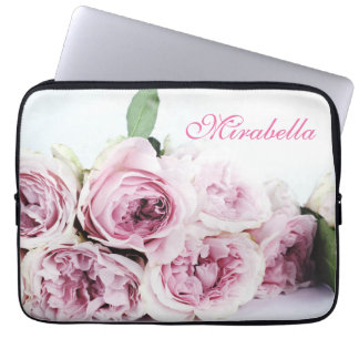 Romantic pink purple rose bouquet nammed laptop sleeve