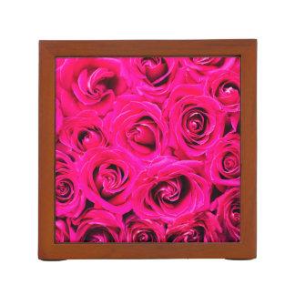 Romantic Pink Purple Roses Desk Organizer