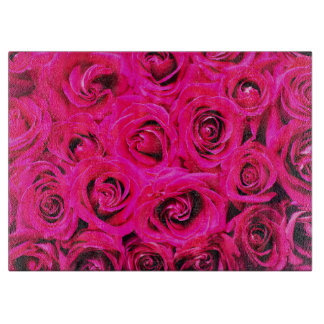 Romantic Pink Purple Roses Pattern Cutting Board