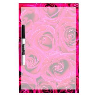 Romantic Pink Purple Roses Pattern Dry Erase Board